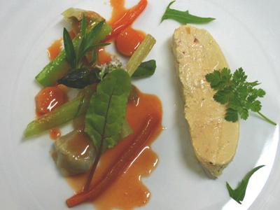 Escabeche de foie gras y verduritas de Navarra