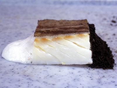 """Bacalao """"Blanco y Negro"""" con Aroma de Trufa, Polvo de Calamar y Leche Quemada"""
