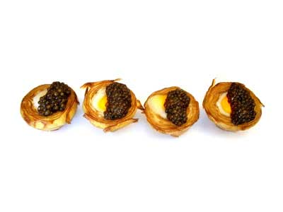 Artichoke with quail egg and caviar (1996)