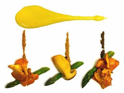 Asparagi e funghi con salsa olandese ai funghi (2004)