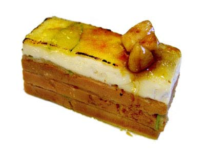 Mille-feuille of foie gras with goat cheese and caramelized apple (2002)