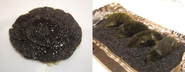 Tarta de trufa / Empanadilla de nori con sésamo