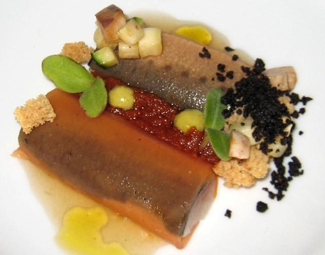 Nuestro pisto manchego sardina marinada envuelta en tomate de nuestra conserva,