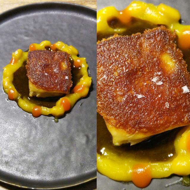 Cochinillo confitado con soja amarilla