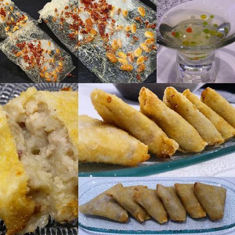 Cristales de jamón y piñones/ Ensalada líquida/ Croquetas morellanas