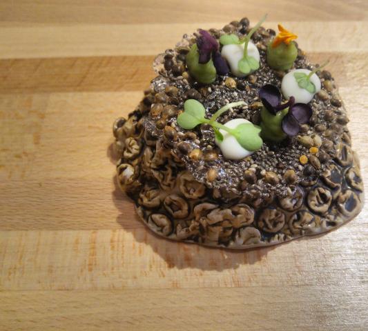 Torta de cañamones, aguacate, chiles fermentados en barrica