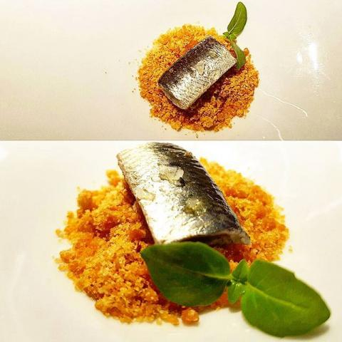 Pa amb tomàquet con sardina escabechada en frío