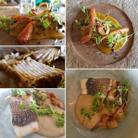 Raya asada con escabeche marino y tubérculos/Dorada con alcachofa en tres textur