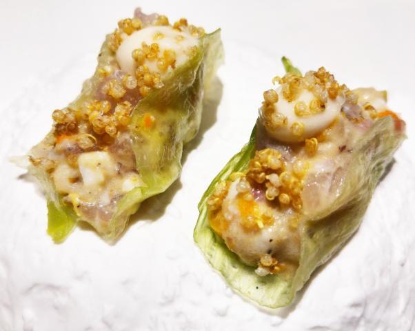Taco de lechuga - ensaladilla rusa de corvina