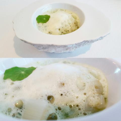 Arroz meloso de callos de bacalao con espárragos en salsa verde