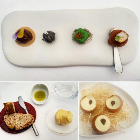 Mochi; rillette; macarrón, parfait / Huevos de cangrejo