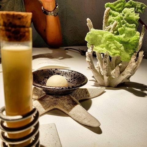 Mantequilla de anchoas/Caldo de betas y miso con algas wakame/Bocabits de algas