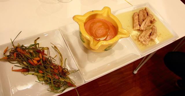 Cogote, salmorejo y miniverduras