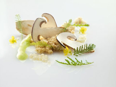Carpaccio de cepes con  huevas de caracol y quinoa