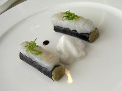 Sushi de Berza con Espuma de Jengibre y Ceviche de Gamba