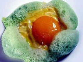 Huevo de Oca en Salazón, Pencas al Azafrán  y Martini Blanco