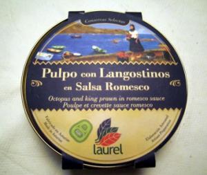 Pulpo con Langostinos en Salsa Romesco Laurel