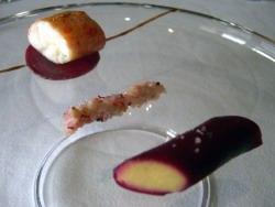 Remolacha y pequeñas alubias, King Crab snacké
