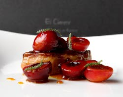 Foie gras con cerezas