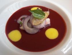 Beet Gazpacho with Octopus and Mango