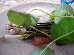 Anguila ahumada caliente con berros, cebolletas y yogur al raifort