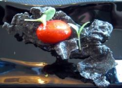 Bocadito de Foie Gras en Gelatina de Remolacha con Crujiente de Arroz Negro