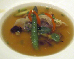 Ravioli Stuffed with Veal with Spiced Minestrone, Artichokes, Green Asparagus, S