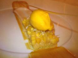 Sorbete de mango con plátano y jugo de naranja y limón
