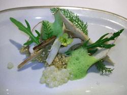 Carpaccio de hongos con quinoa, huevas de caracol y rúcula