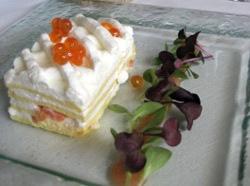Pastel frío de salmón y queso