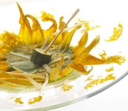 La minestra di fiori di zucchini cacio e uova