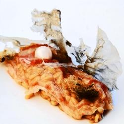 Arroz meloso de ostra, almeja de carril y perla de su agua