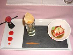 Milhojas de bogavante, tomate y queso de cabra
