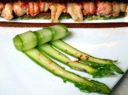 Cangrejos de Léman con espárragos verdes