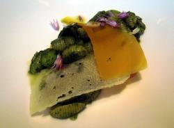 Noquis al pesto, láminas de queso y flores de romero