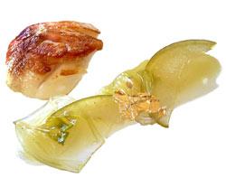 Vieira con mortadela, manzana e hinojo