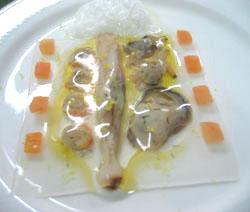 Bivalvos con velo de mar y gelatina de pulpo