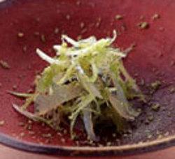 Translucent sayori (halfbeak or needlefish) is thatched with wasabi (horseradish